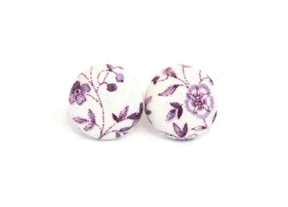 Small purple stud earrings - violet button earrings - tiny fabric covered white floral vintage - gift for her