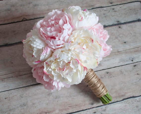 Ivory And Blush Pink Peony Wedding Bouquet Rustic Peony