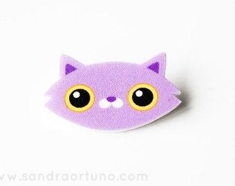PURPLE/BLUE Cat Brooch