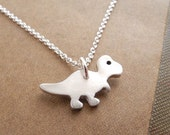 Tiny T-Rex Necklace, Baby T-Rex, Tiny Dinosaur Jewelry, Fine Silver, Sterling Silver Chain, Made To Order