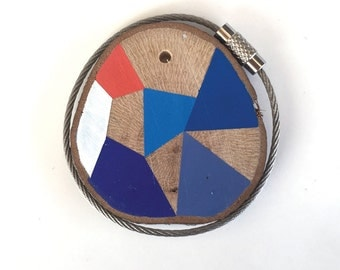Wood keychain with stainless  cable wire option plus initial on other side keyring ,blues, orange, white,  geometric triangle shapes