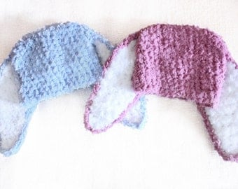 6 to 12m Bunny Twin Outfit Baby Hats, Twin Bunny Hats, Twin Baby Girl, Twin Baby Boy, Plum Blue Twin Photo Prop, Bunny Baby Hat Twin Set