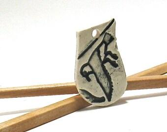 Ceramic Pendant - Hieroglyph Black Raven, Halloween Pendant (OOAK Focal Pendant, Ceramic Keychain, Ceramic Gift Tag, Ceramic Necklace)