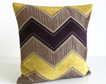 14x20 inch lumbar pillow cover, Zigzag, Cushion Cover- Zigzag Purple/Citrus
