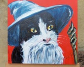 Gandalf Kitty Cat Original Art Acrylic Painting on Canvas OOAK Hobbit
