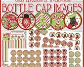 CHRISTMAS Bottle Cap Images, 1 INCH Round Images - PRINTABLE Instant Download