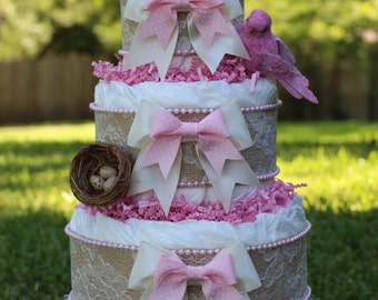 Shabby Chic Burlap And Lace Boutique Style Diaper Cake, Mommy Bird With Her Nest Of Eggs, Baby Girl Shower Gift Or Centerpiece