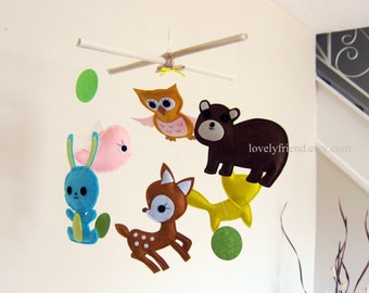 Customize Baby Mobile - Deer, Bear, Bunny, Fox, Owl, Bird Theme Nursery Crib Mobile (Choose your color)