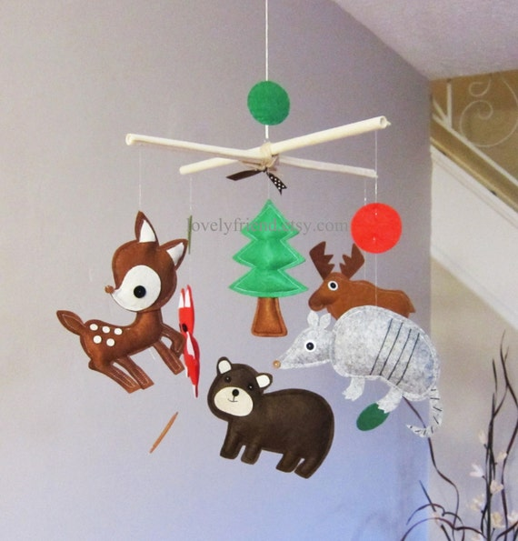 Customize Baby Mobile - Armadillo and Moose Theme Hanging Mobile - Cedar Tree Decorative Crib Baby Mobile (Choose your color)
