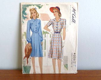 1941 Pattern - Misses' Dress w/ Long or Short Sleeves - McCall Printed 4206 - Size 16 - Vintage 1940's - 34-28-37