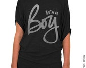 It's A Boy - Black with Silver Longer Length Slouchy Tee (Small - Plus Sizes)