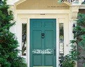 Welcome decal front door sticker in handwriting style with leaf floral design