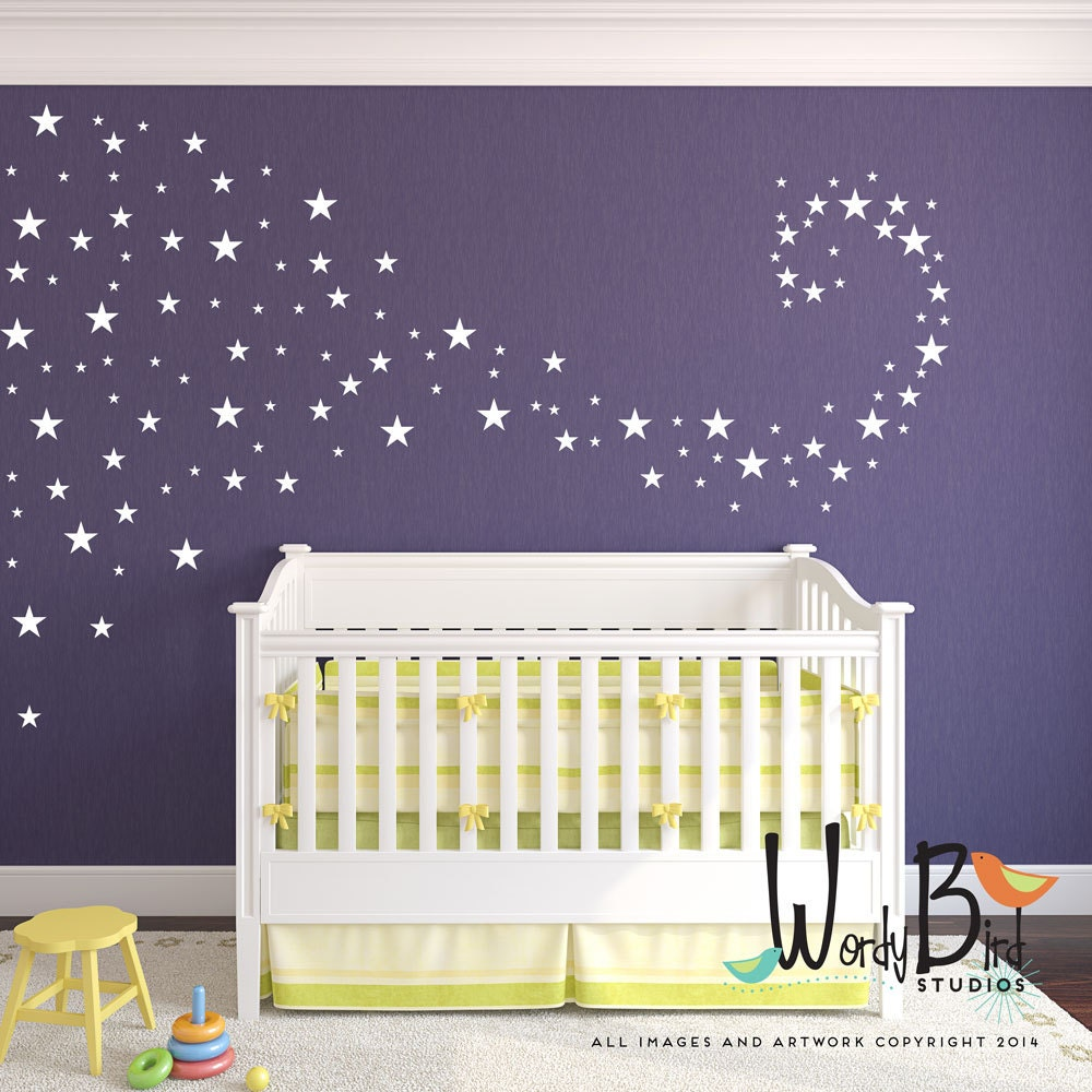 Baby nursery decals star confetti wall decals stickers for for Baby girl nursery mural