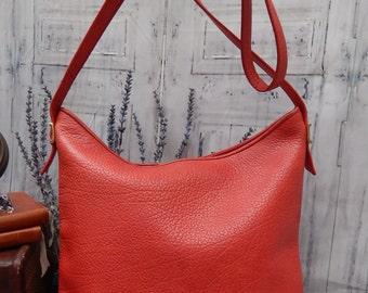 Spetacular RARE Vintage KORET Bucket Bag ~~Authentic Koret ~Bright RED Pebbled Leather ~~Large Tote