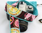 Padded Camera Strap - Nikon Camera Strap - Carnival Bloom with Teal Blue Minky - Camera Padded Strap - Gift Ideas for Sister