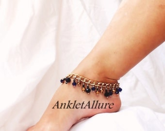 Caribbean Belly Dance Anklet Coblat Blue Crystal Ankle Bracelet Gold Ankle Bracelet Black Anklet
