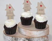 Housewarming cupcake toppers - housewarming party, cake picks, new home cupcake toppers, set of 6