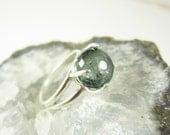 Sale - Green Moss Aquamarine Ring - Sterling Silver Ring - Aquamarine Jewelry - March Birthstone Cocktail Ring - Aquamarine Birthstone