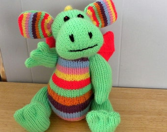 Hand Knitted Dragon - CE Marked Toy - Rainbow the Dragon - Knitted Toy for Children
