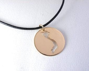Vietnam Necklace 18kt Gold Vietnam Pendant Silver Map Adoption Jewelry