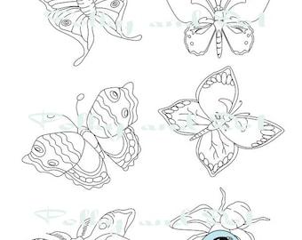 Digital stamp Butterflies and moths clip art ABR