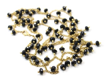 """Long Necklace of Faceted Black Onyx Stones Hand Pinned Like a Long Charm Necklace 60"""""""