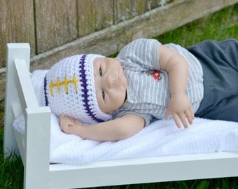Crochet Baby Football Beanie - Newborn to Adult - White, Purple, Gold - MADE TO ORDER