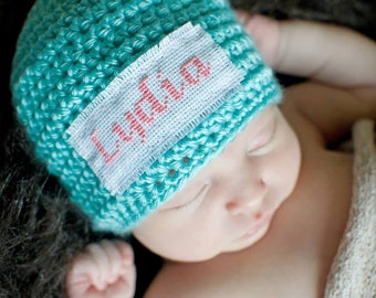 Crochet Baby Personalized Name Cross Stitch Beanie - Newborn to 3 months - Robins Egg - MADE TO ORDER