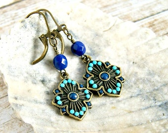 the goddess drop earrings, navy aqua, boho, bohemian, gypsy, hippie, antique brass