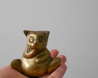 vintage solid brass cat figurine