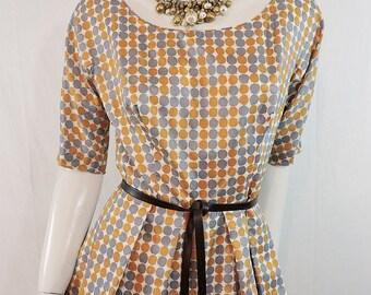 1960s Vintage Silk Polka Dot Print Full Skirted Dress Debby Of California