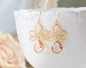 Peach Dangle Earrings Matte Gold Textured Swirly Filigree Peach Champagne Teardrop Glass Earrings Peach Wedding Jewelry Bridesmaid Gift