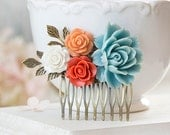 Burnt Orange Tangerine White Ivory Sky Blue Flowers Hair Comb Blue Coral Wedding Bridal Hair Comb Bridesmaid Gift Romantic Country Chic