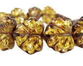 Czech Glass Maple Leaf Bead, 10x13mm, Translucent Amber Picasso, Qty:10