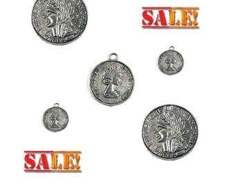 Antique Silver Tone Coin Charms, Qty 5