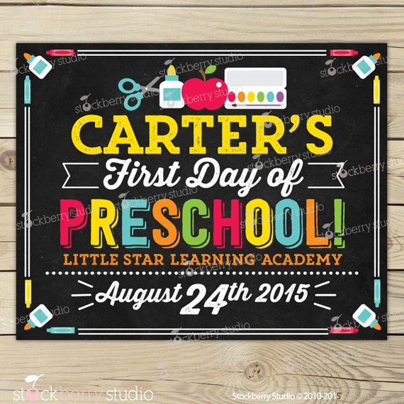 It is a graphic of Trust First Day of Preschool Sign Printable
