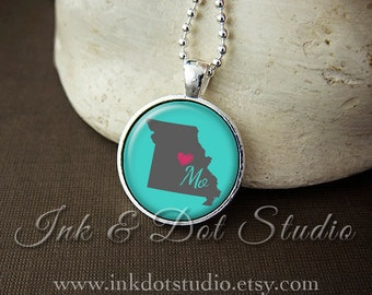 Missouri Necklace, Love Missouri Pendant, Custom MO State Pendant, Missouri Jewelry, Customizable
