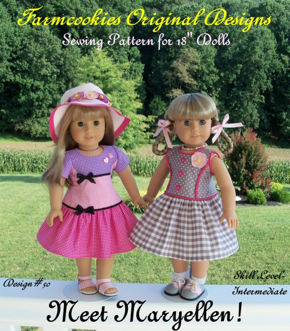 PDF Sewing Pattern / Meet Maryellen! 1950's Style Fit & Flare Dress Pattern Fits American Girl® Maryellen, Kit, Molly
