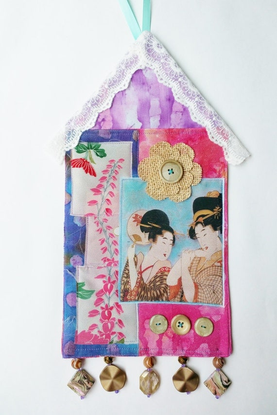 Japanese Art Wall Hanging, Geishas on Magenta and Purple Batik Background with Button and Bead Accents, Asian Home Decor