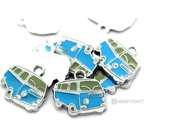 VW Camper Bus Charms, 3pc Blue and Green Camper Van Charms, 20x18