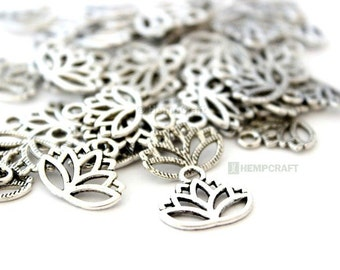Lotus Flower Charms, 20pc Silver Lotus Charms, 17x14mm