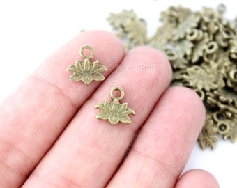 50 Antique Bronze Finish Lotus Blossom Shaped Charms - 10mm x 10mm - Lead-Free Zinc Alloy - Waterlily, Flower, Enlightenment, Sacred, Bloom