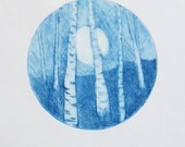 Original drypoint etching print of a full moon rising through the forest silver birch aspen woods