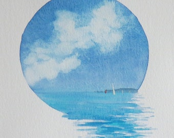 Original watercolour vignette ocean summer sailing