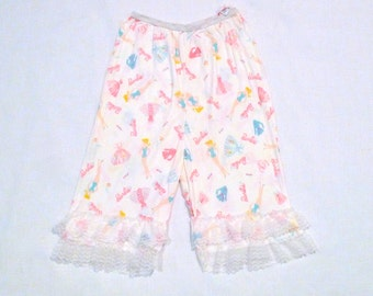 Barbie Pettipants Vintage Girls Coulotte Slip Size 10 Children Pantaloons Bloomers Panties 1960s 1970s All Over Pastel Print