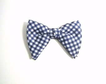 Blue & White Gingham Large Vintage Bow Tie