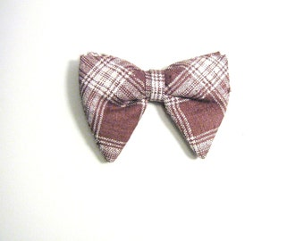 Brown & White Large Vintage Bow Tie