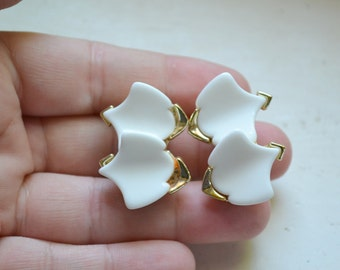 1960s White and Gold Clip Earrings