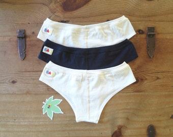 3x (mix & match) Organic Cotton Hemp Cheeky Briefs Women's Underwear