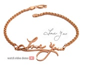 14K gold Signature Bracelet - Memorial Bracelet - Handwriting Jewelry - Personalized Gold Bracelet - Mothers Bracelet, Solid Gold Bracelet
